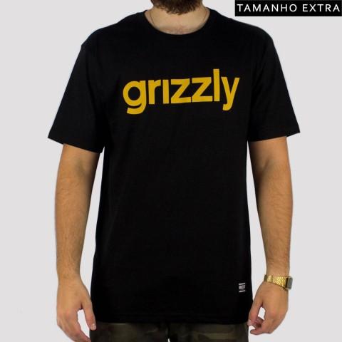 Camiseta Grizzly Lowercase Logo (Tamanho Extra) - Preta/Amarela