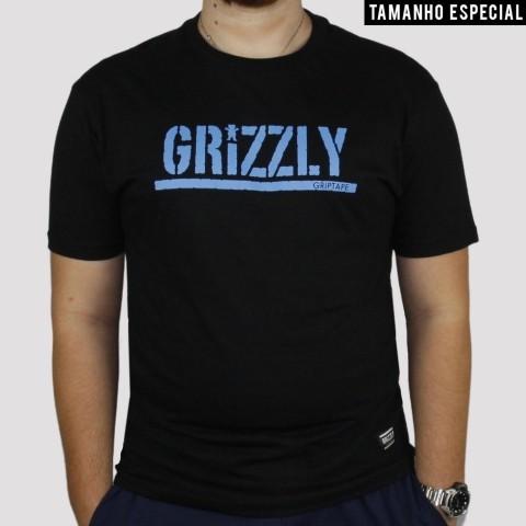 Camiseta Grizzly Stamp Extra - Preta/Azul
