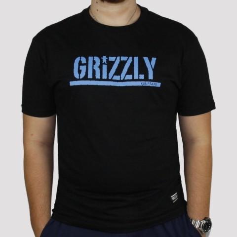 Camiseta Grizzly Stamp - Preta/Azul