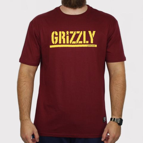 Camiseta Grizzly Stamped - Bordô/Amarelo