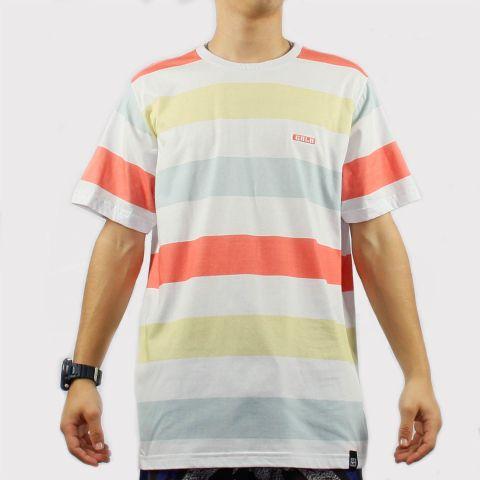 Camiseta Hocks Candy Gala Listrada - Salmão/Branco/Azul