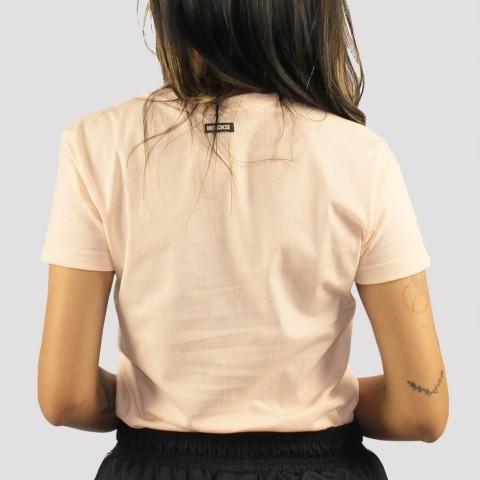 Camiseta Hocks Feminina Logo Bordado Gola V - Laranja Claro