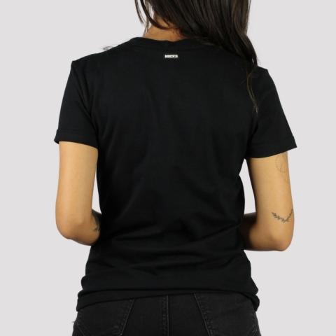 Camiseta Hocks Feminina Logo Bordado Gola V - Preto