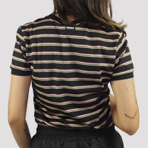 Camiseta Hocks Feminina Traço Listrada - Preto