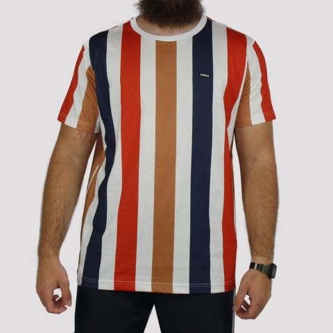 Camiseta Hocks Linear Multicolor - Laranja/Azul Marinho