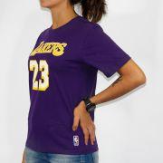 Camiseta Feminina NBA 23 Lakers Roxo/Amarelo