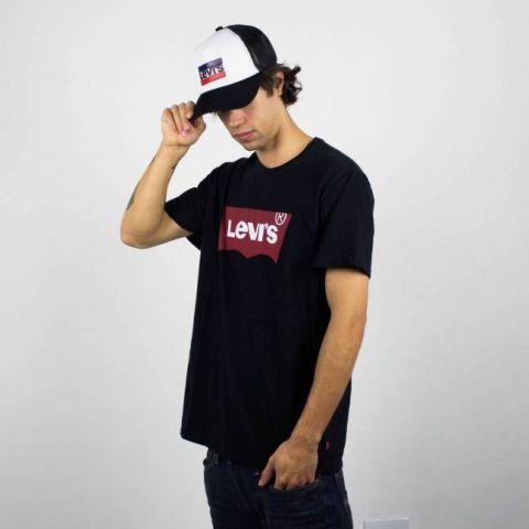 Camiseta Levis Preta Logo Preto