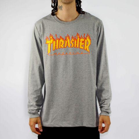 Camiseta Thrasher Flame Manga Longa Logo - Cinza Mescla