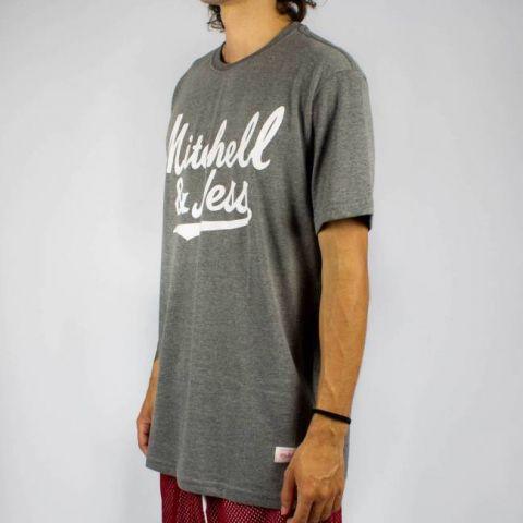 Camiseta Mitchell & Ness Assinatura - Cinza Mescla/Branca
