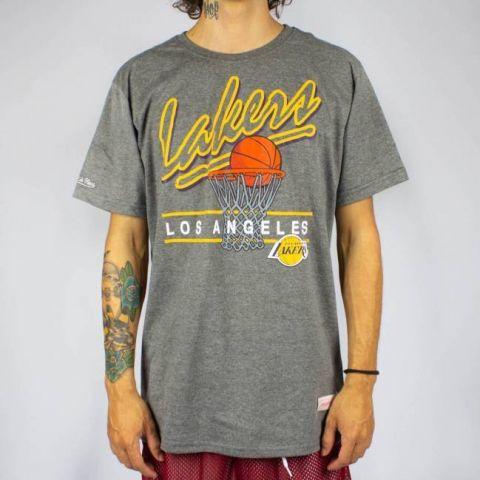 Camiseta Mitchell & Ness Drive To The Basket - Cinza Mescla/Amarela