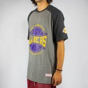 Camiseta Mitchell & Ness Raglan Lakers Cinza Mescla