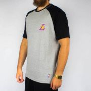 Camiseta NBA Big Logo  Lakers Raglan Cinza Mescla/Preta