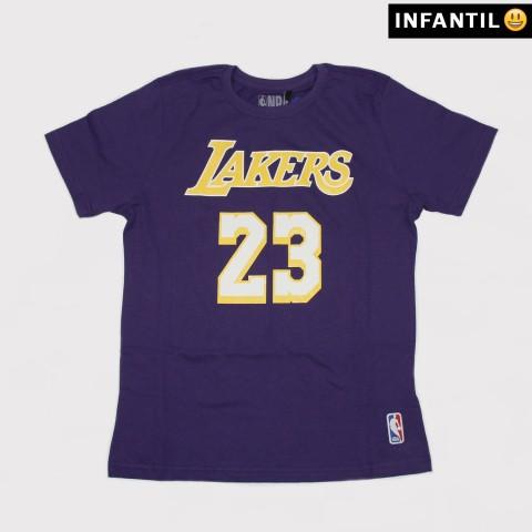 Camiseta NBA Juvenil 23 Lakers - Roxo/Amarelo
