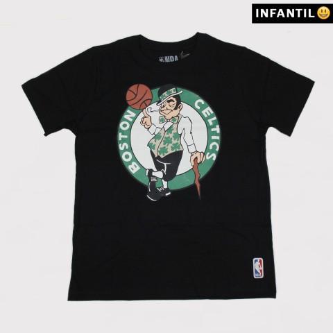 Camiseta NBA Juvenil Celtics Big Logo - Preta