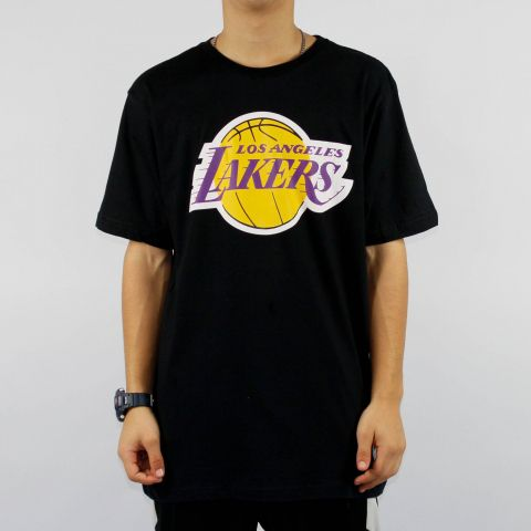Camiseta NBA Lakers Logo - Preta