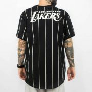 Camiseta NBA Stripes Loslak Lakers Preta