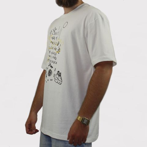 Camiseta Öus Caio E Não Me Machuco - Branco