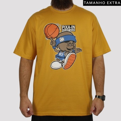 Camiseta Pixa In Basket (Tamanho Extra) - Mostarda