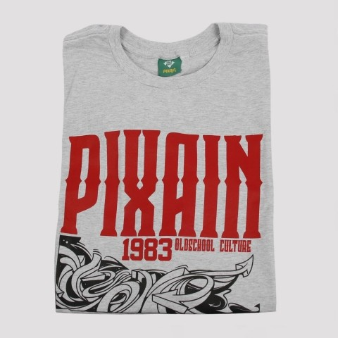 Camiseta Pixa In Big Logo - Mescla Claro (Tamanho Extra)