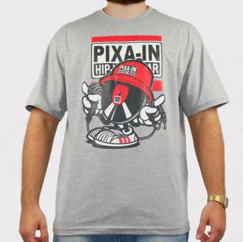 Camiseta Pixa In Disco - Cinza/Vermelho/Preto
