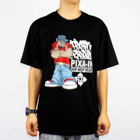 Camiseta Pixa In Gangsta Rap - Preto/Branco/Vermelho