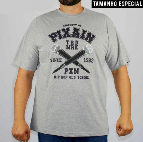 Camiseta Pixa In Mic - Cinza (Tamanho Especial)