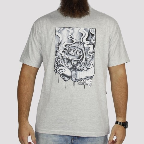 Camiseta Pixa In Old School Grafiteiro - Cinza Mescla Claro