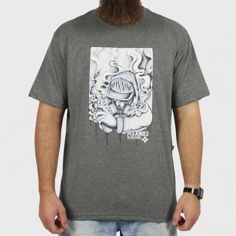 Camiseta Pixa in Old School Grafiteiro - Cinza Mescla Escuro