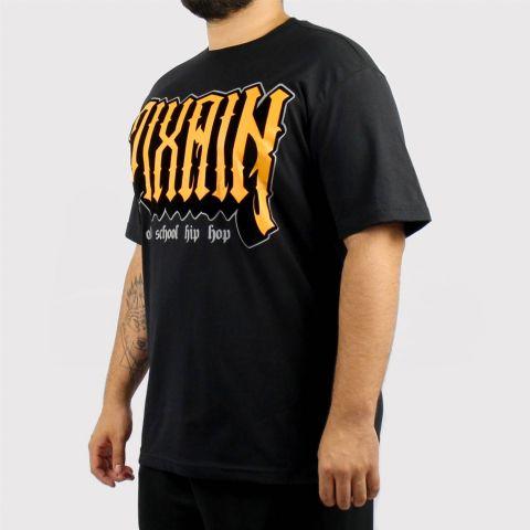 Camiseta Pixa in Old School Logo Veludo (Tamanho Extra) - Preto/Laranja