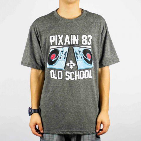 Camiseta Pixa In Old School Pick Up DJ - Cinza Escuro