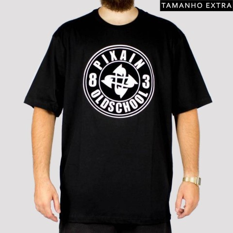 Camiseta Pixa In Old School (Tamanho Extra) - Preta