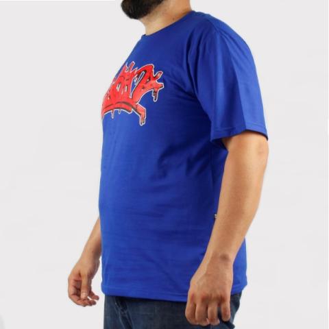 Camiseta Pixa in Pixe - Azul/Vermelho (Tamanho Especial)