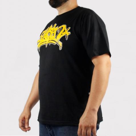 Camiseta Pixa in Pixe - Preta/Amarela (Tamanho Especial)