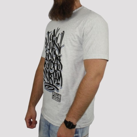 Camiseta Pixa In Vidas Negras Importam - Cinza Mescla Claro