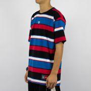 Camiseta Prison Listrada Preta/Vermelha/Azul/Branca
