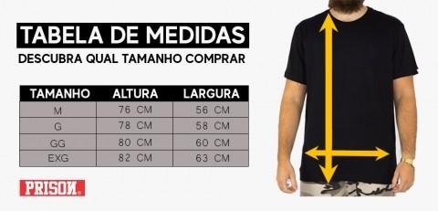 Camiseta Prison Listrada - Branco/ Preto