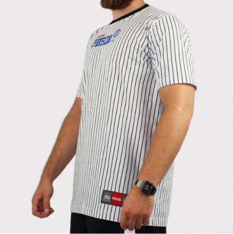 Camiseta Prison Listrado - Branco/Preto