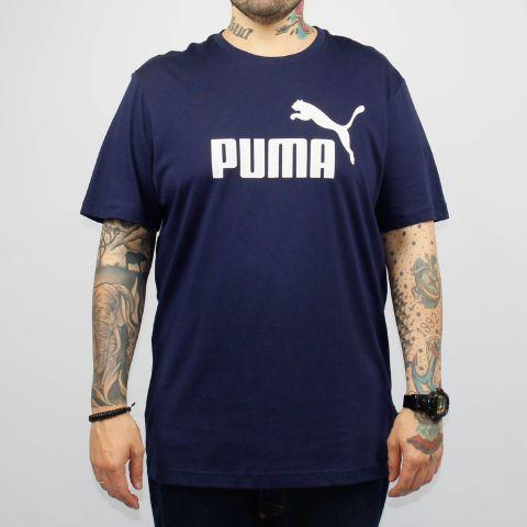 Camiseta Puma Essentials Logo - Azul Marinho/Branco