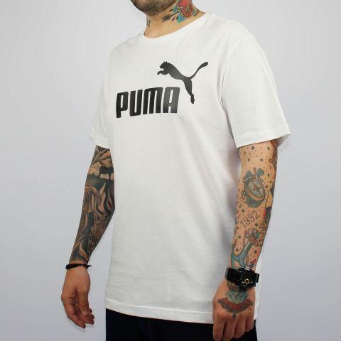 Camiseta Puma Essentials Logo - Branca/Preto