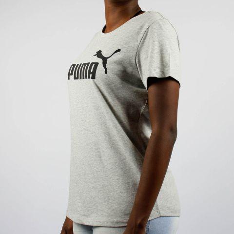 Camiseta Puma Feminina Essentials Logo - Cinza Clara/Preto