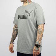 Camiseta Puma Essentials Logo Cinza Mescla/Preto