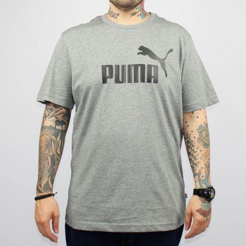 Camiseta Puma Essentials Logo - Cinza Mescla/Preto