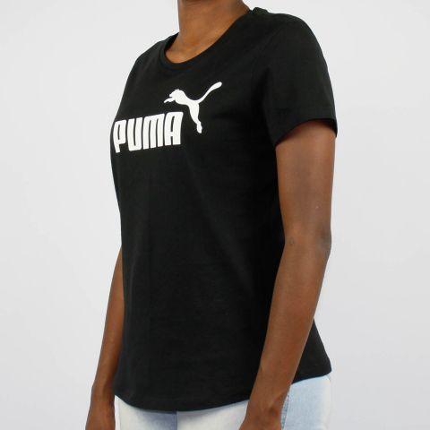 Camiseta Puma Feminina Essentials Logo - Preto/Branco