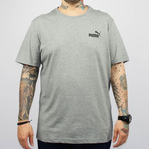 Camiseta Puma Essentials Small Logo Cinza Mescla/Preto