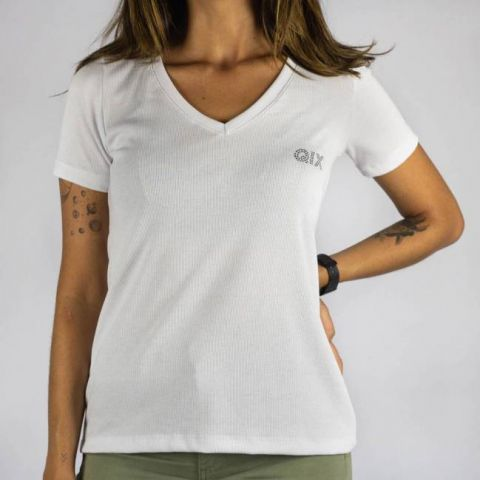 Camiseta Qix Missy Feminina Basic - Branca