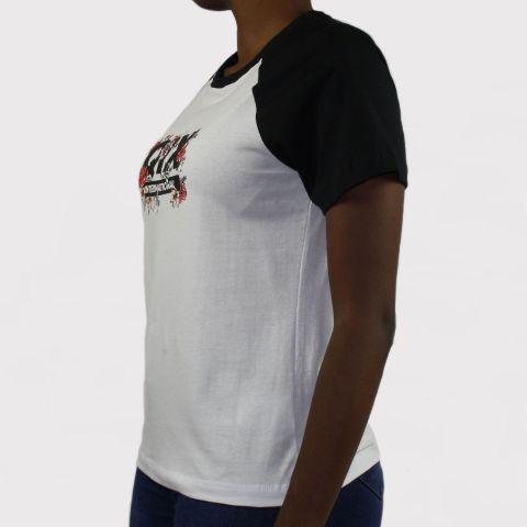 Camiseta Qix Missy Logo Florido - Branco/Preto