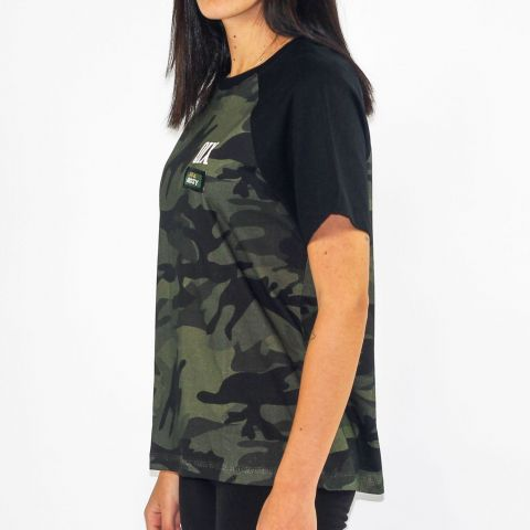 Camiseta Qix Missy Raglan - Camuflado/Preto