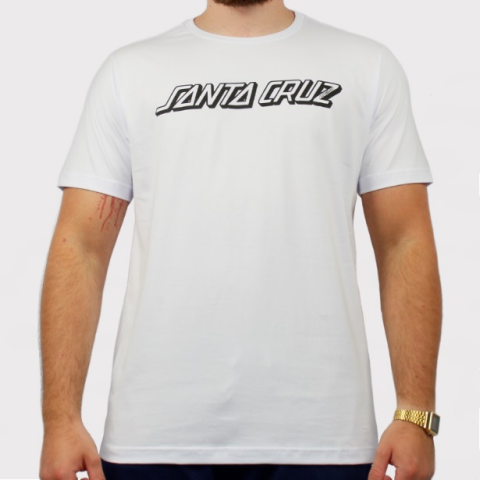 Camiseta Santa Cruz Classic Strip - Branco/Preto