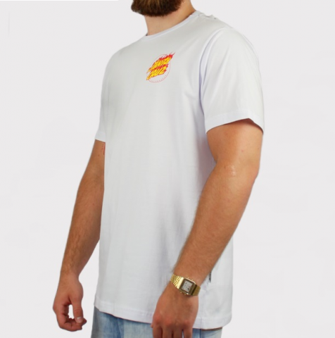 Camiseta Santa Cruz Flame Hand - Branco