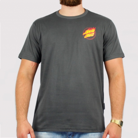 Camiseta Santa Cruz Flame Hand - Chumbo
